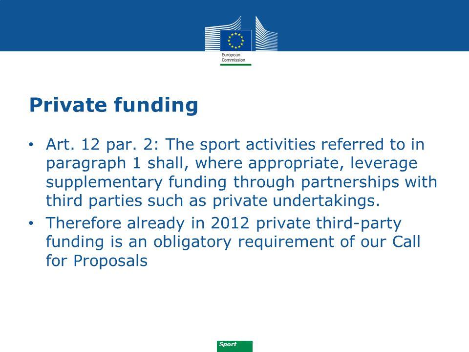 Sport Private funding Art. 12 par.