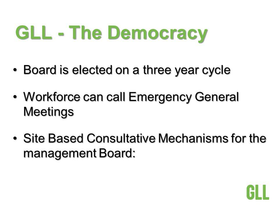 GLL - The Democracy Board is elected on a three year cycleBoard is elected on a three year cycle Workforce can call Emergency General MeetingsWorkforc