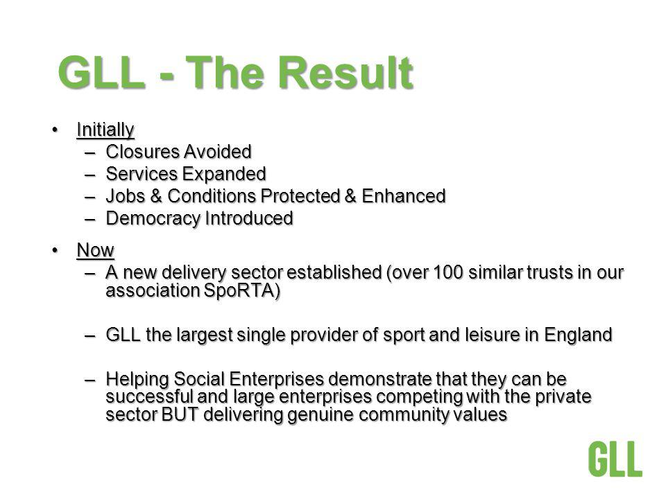 GLL - The Result InitiallyInitially –Closures Avoided –Services Expanded –Jobs & Conditions Protected & Enhanced –Democracy Introduced NowNow –A new d