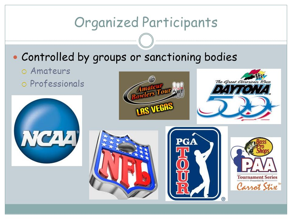 Organized Participants Controlled by groups or sanctioning bodies Amateurs Professionals
