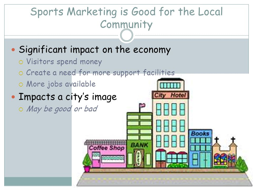 Sports Marketing is Good for the Local Community Significant impact on the economy Visitors spend money Create a need for more support facilities More jobs available Impacts a citys image May be good or bad
