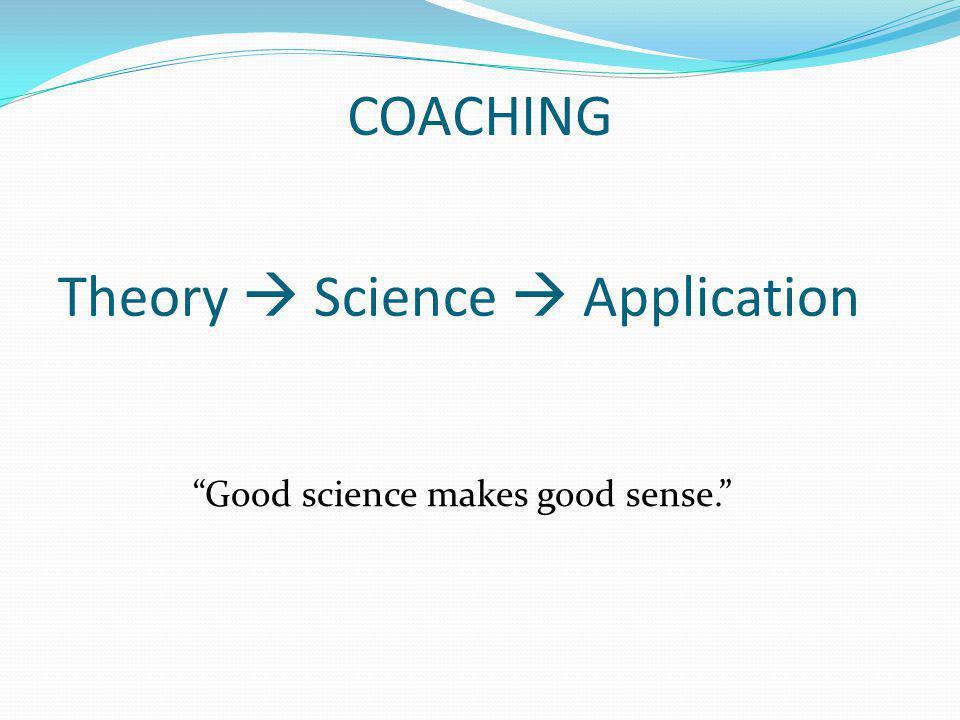 COACHING Theory Science Application Good science makes good sense.