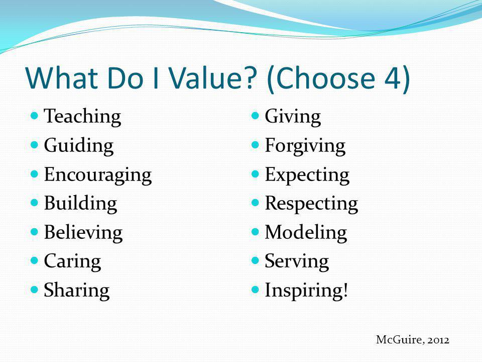 What Do I Value? (Choose 4) Teaching Guiding Encouraging Building Believing Caring Sharing Giving Forgiving Expecting Respecting Modeling Serving Insp