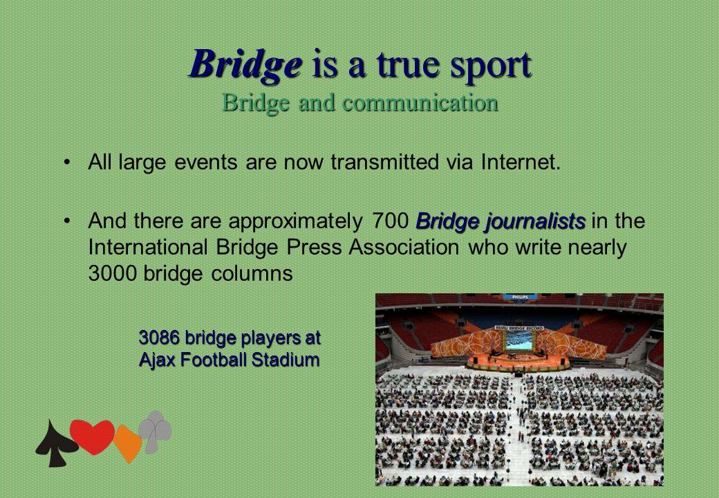 Bridge is a true sport Bridge and communication 3086 bridge players at Ajax Football Stadium All large events are now transmitted via Internet. Bridge