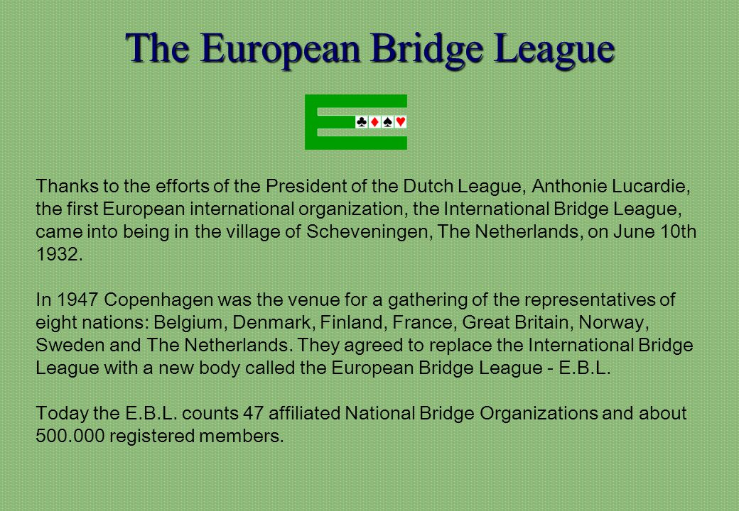 Bridge is, with music, the only universal language Li Lanqing, Vice-Premier of the Peoples Republic of China