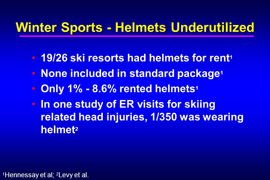 Winter Sports - Helmets Underutilized 19/26 ski resorts had helmets for rent 1 None included in standard package 1 Only 1% - 8.6% rented helmets 1 In