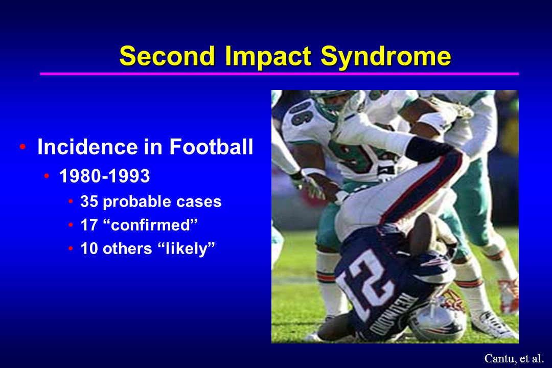 Second Impact Syndrome Incidence in Football 1980-1993 35 probable cases 17 confirmed 10 others likely Cantu, et al.