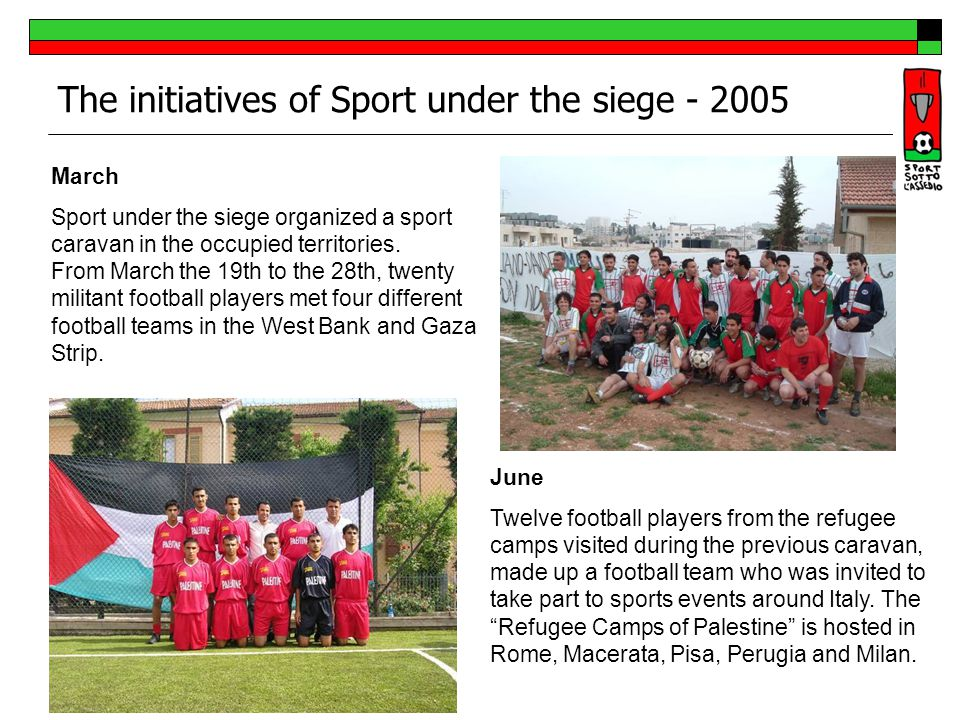 The initiatives of Sport under the siege - 2006 April From the 15th to the 22nd, on the occasion of SPORT UNDER SIEGE CUP, 3 Italian teams, two male and a female one, (62 people overall), played in six small tournaments in refugee camps and villages around Palestine (West Bank and Gaza).