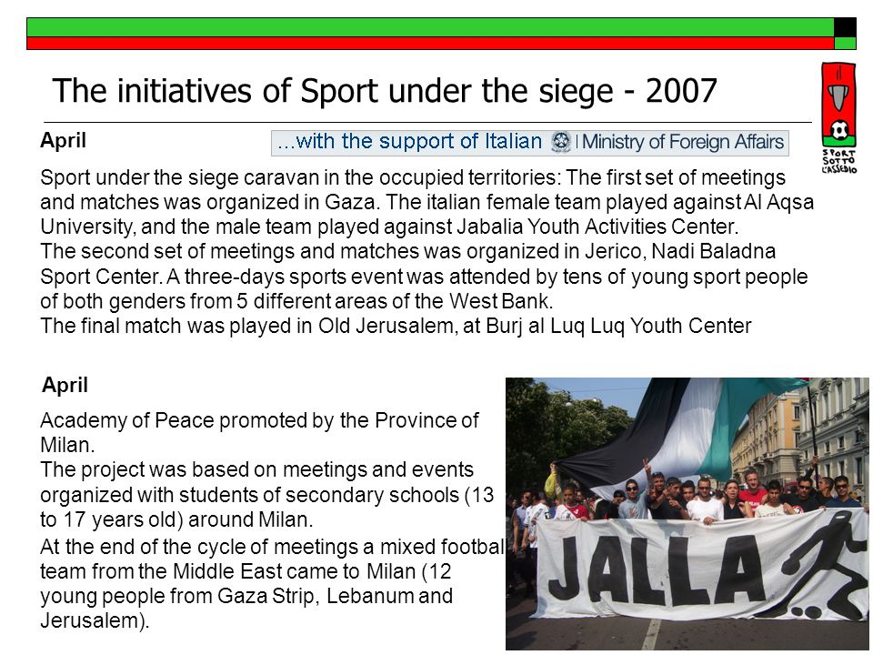 November To support the female sport, we invited in Italy, two Palestinian female teams.