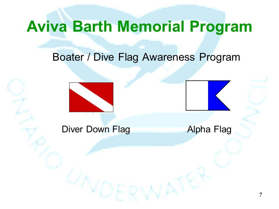 7 Aviva Barth Memorial Program Boater / Dive Flag Awareness Program Diver Down FlagAlpha Flag