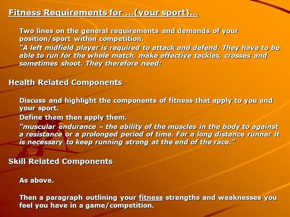 Fitness Requirements for …(your sport)… Two lines on the general requirements and demands of your position/sport within competition.