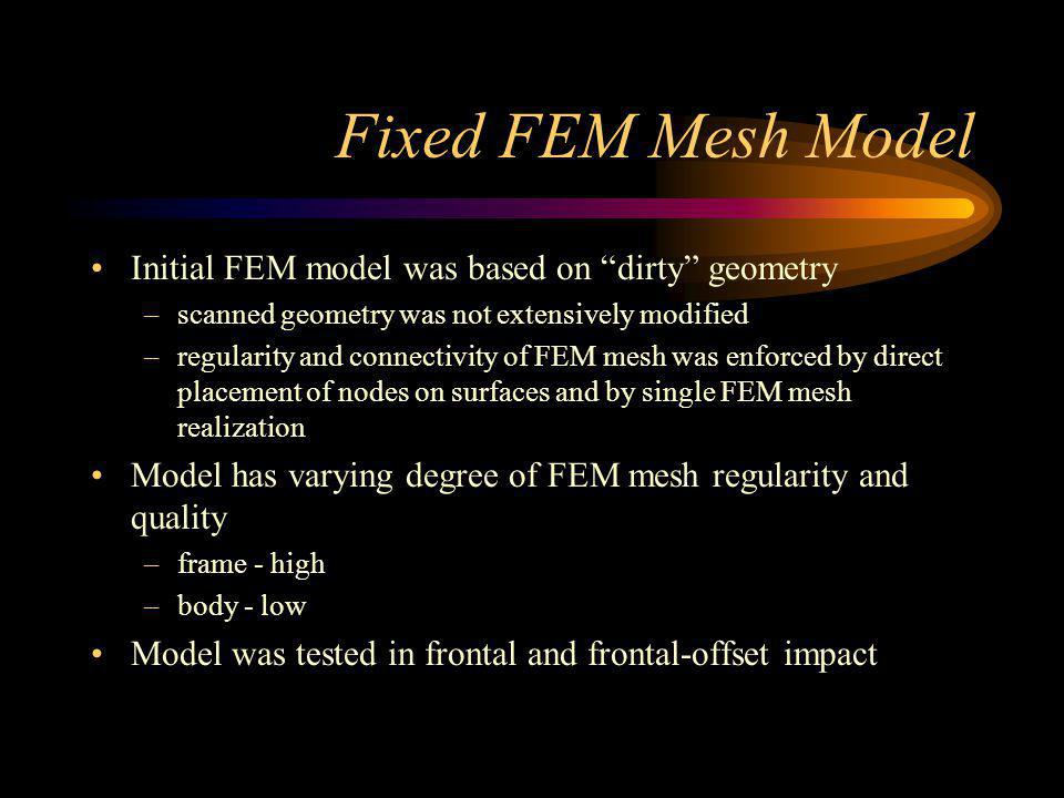 Fixed FEM Mesh Model Initial FEM model was based on dirty geometry –scanned geometry was not extensively modified –regularity and connectivity of FEM mesh was enforced by direct placement of nodes on surfaces and by single FEM mesh realization Model has varying degree of FEM mesh regularity and quality –frame - high –body - low Model was tested in frontal and frontal-offset impact
