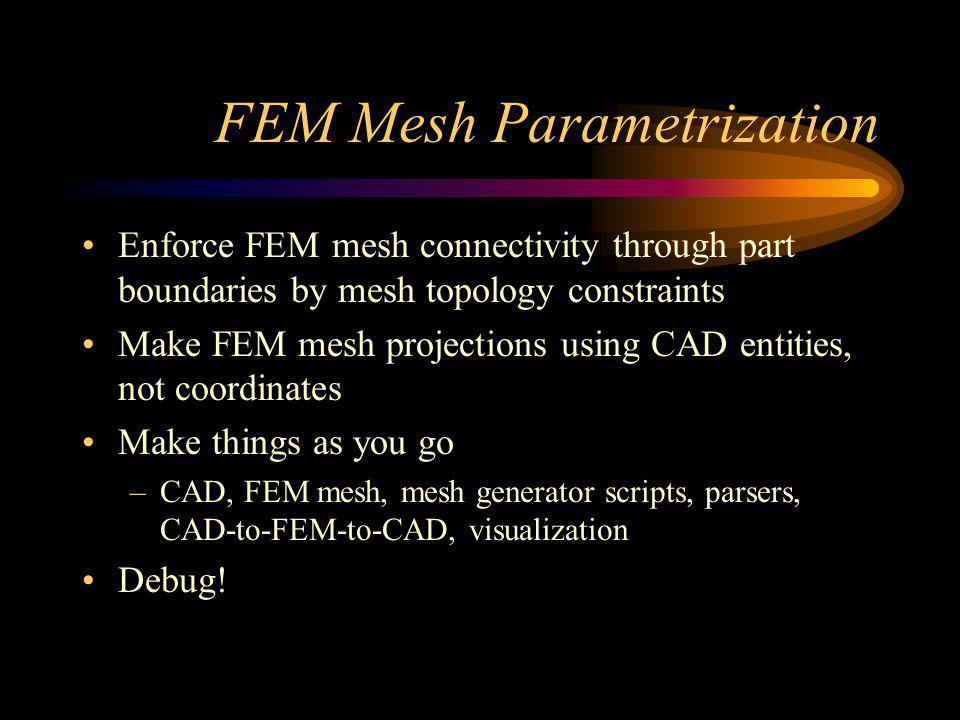 FEM Mesh Parametrization Enforce FEM mesh connectivity through part boundaries by mesh topology constraints Make FEM mesh projections using CAD entities, not coordinates Make things as you go –CAD, FEM mesh, mesh generator scripts, parsers, CAD-to-FEM-to-CAD, visualization Debug!