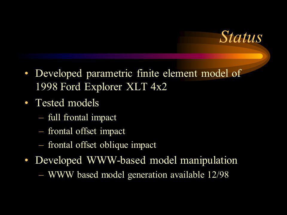 Status Developed parametric finite element model of 1998 Ford Explorer XLT 4x2 Tested models –full frontal impact –frontal offset impact –frontal offset oblique impact Developed WWW-based model manipulation –WWW based model generation available 12/98