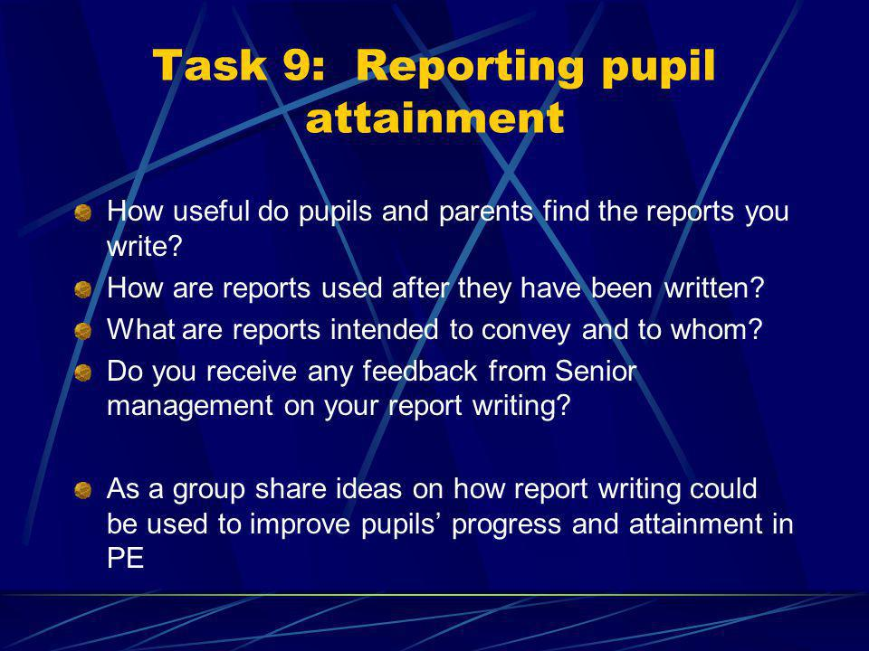 Task 9 contd. ~ questions Would this sheet give you useful information.