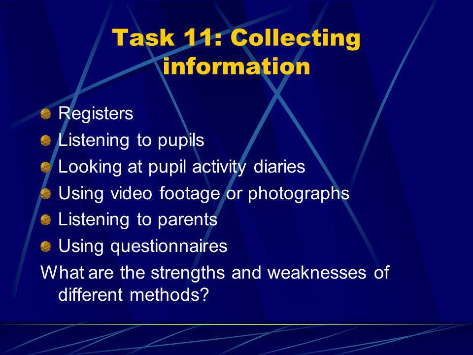 Task 10: Identifying signs of success Look back to objectives task Imagine pupils in 6/12 weeks / 6/12 months time when they have started trying to achieve these objectives What will you see them doing different from now.