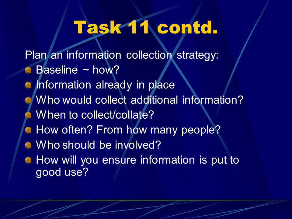 Task 11: Collecting information Registers Listening to pupils Looking at pupil activity diaries Using video footage or photographs Listening to parents Using questionnaires What are the strengths and weaknesses of different methods