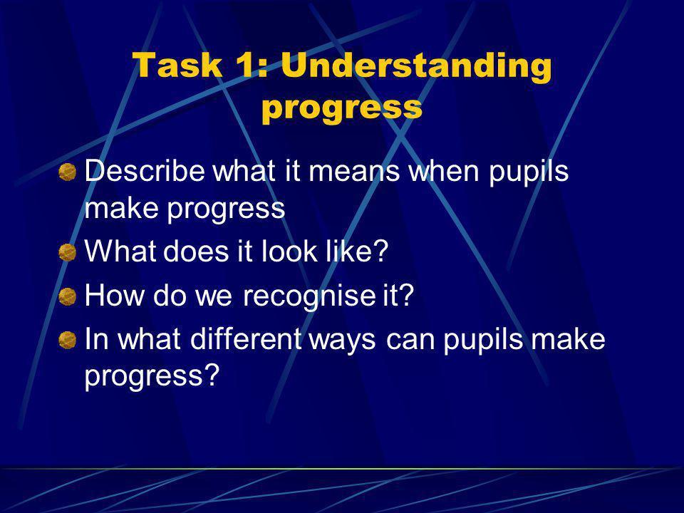 Task 1: Understanding progress Describe what it means when pupils make progress What does it look like.