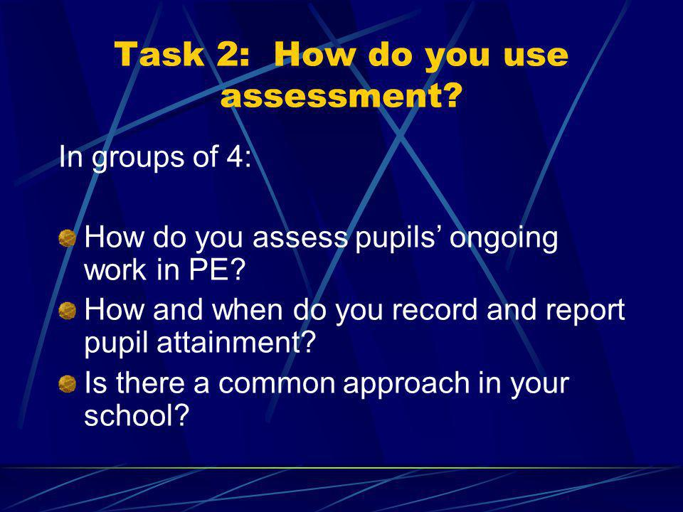 Task 8: Recording evidence of pupils progress in PE On 5 separate sheets of paper: What do you record.