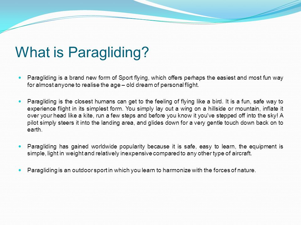 What is Paragliding.
