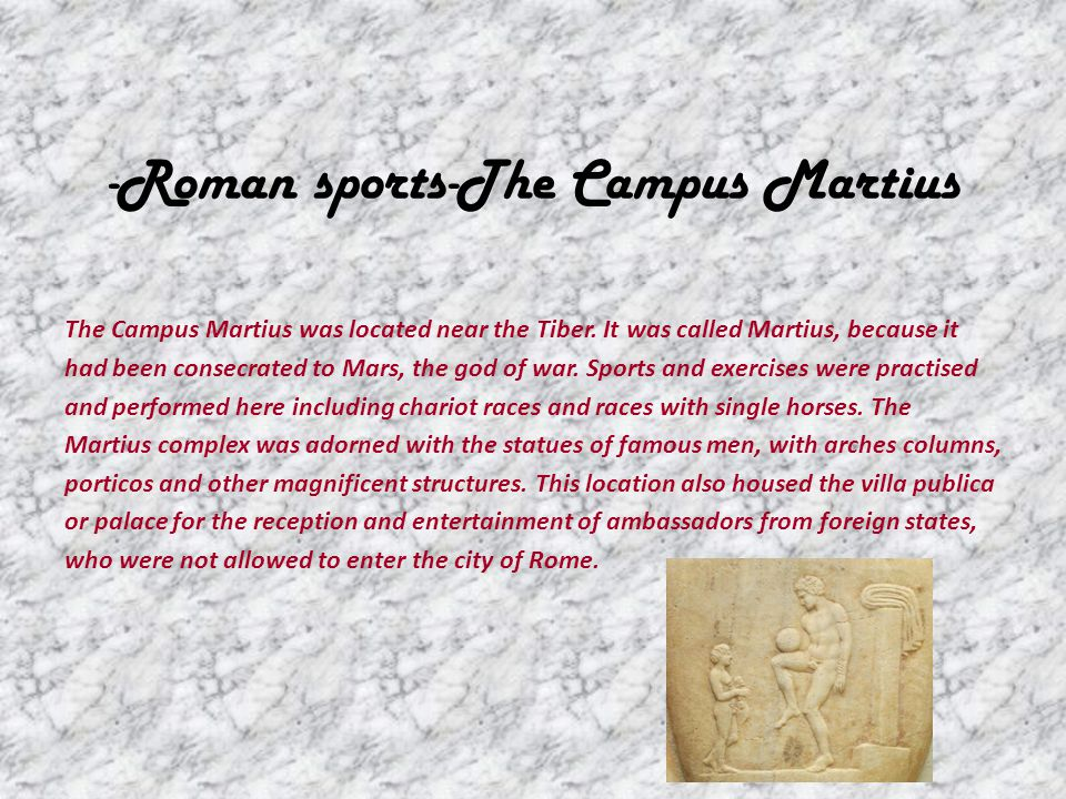 The athletae were those who contended for a prize in the five following contests: Running (cursus) Wrestling (lucta) Boxing (pugilatus) The pentathlon (quinquertium) which consisted of: – jumping or leaping – the foot-race – throwing of the discus – throwing of the spear – wrestling The pancratium – a combination of wrestling and boxing and martial arts