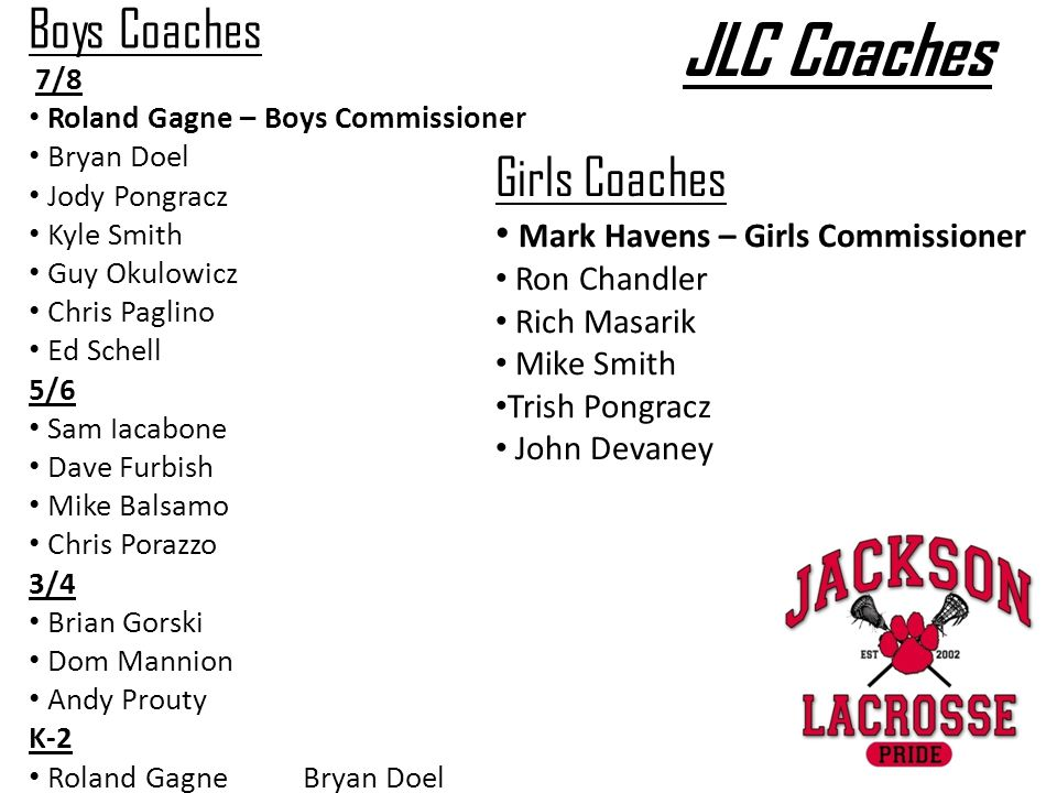 JLC Coaches Girls Coaches Mark Havens – Girls Commissioner Ron Chandler Rich Masarik Mike Smith Trish Pongracz John Devaney Boys Coaches 7/8 Roland Gagne – Boys Commissioner Bryan Doel Jody Pongracz Kyle Smith Guy Okulowicz Chris Paglino Ed Schell 5/6 Sam Iacabone Dave Furbish Mike Balsamo Chris Porazzo 3/4 Brian Gorski Dom Mannion Andy Prouty K-2 Roland Gagne Bryan Doel