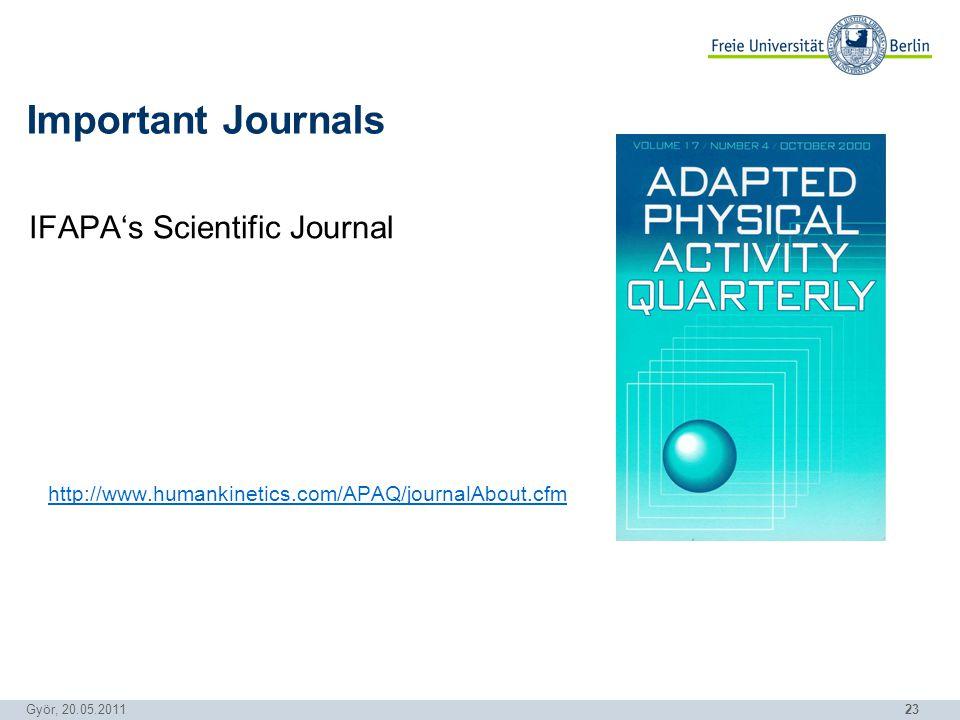23 Györ, 20.05.2011 IFAPAs Scientific Journal http://www.humankinetics.com/APAQ/journalAbout.cfm Important Journals