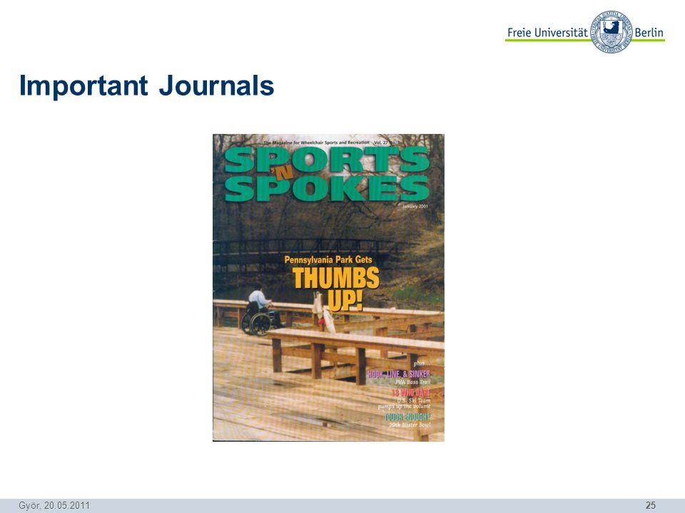 25 Györ, 20.05.2011 Important Journals