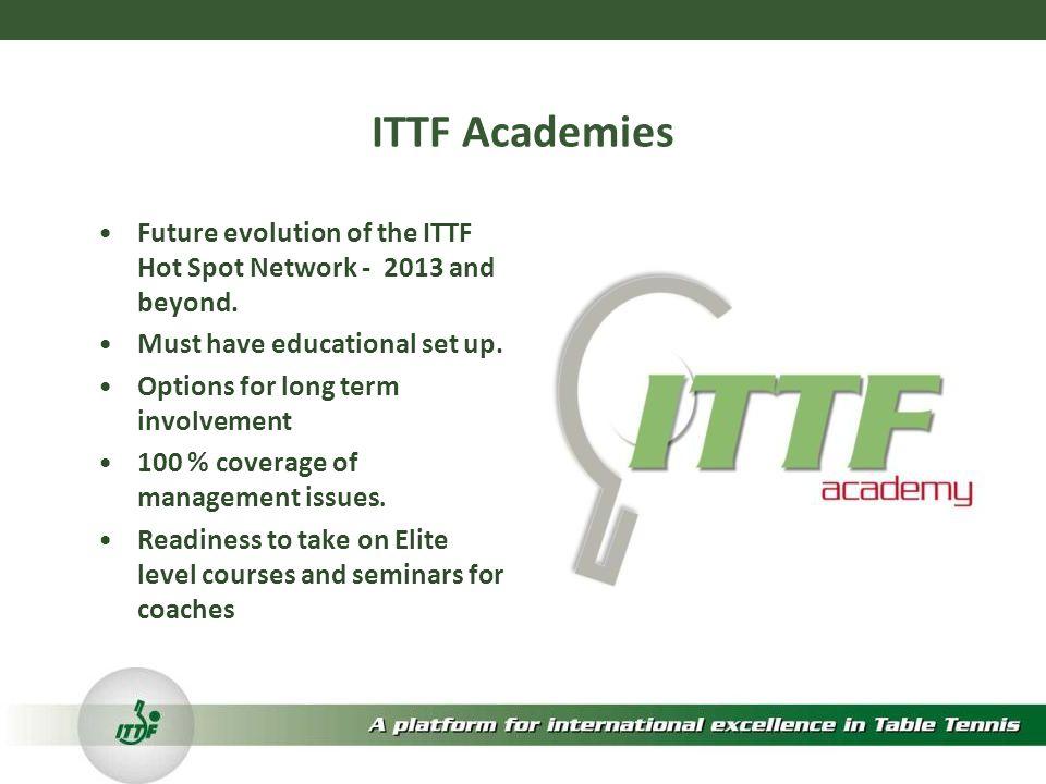 ITTF Academies Future evolution of the ITTF Hot Spot Network - 2013 and beyond.