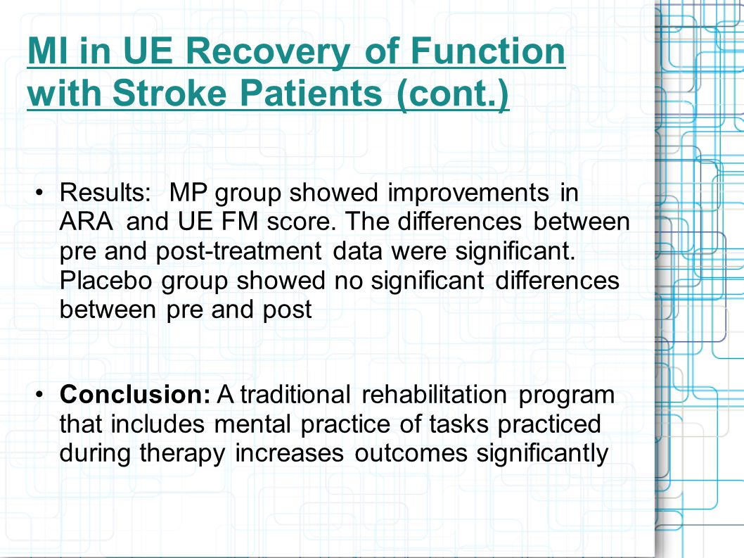MI in UE Recovery of Function with Stroke Patients (cont.) Results: MP group showed improvements in ARA and UE FM score.