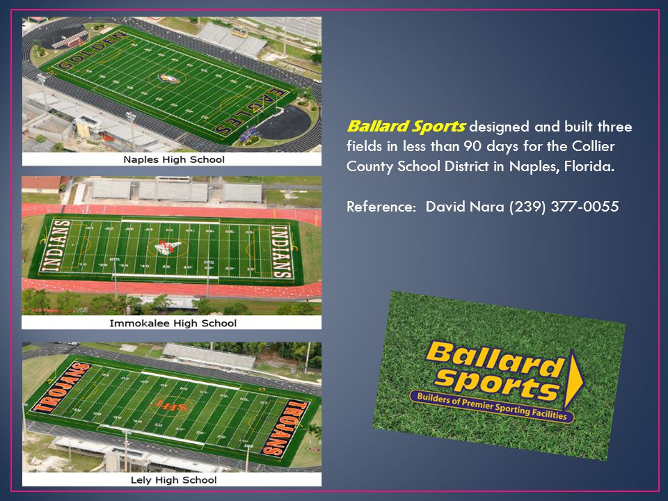 Cherokee Central Schools Cherokee, North Carolina Ballard Sports designed and built a synthetic turf football stadium, a 400 meter running track with a natural grass stickball field, two natural grass baseball fields and two natural grass softball fields.