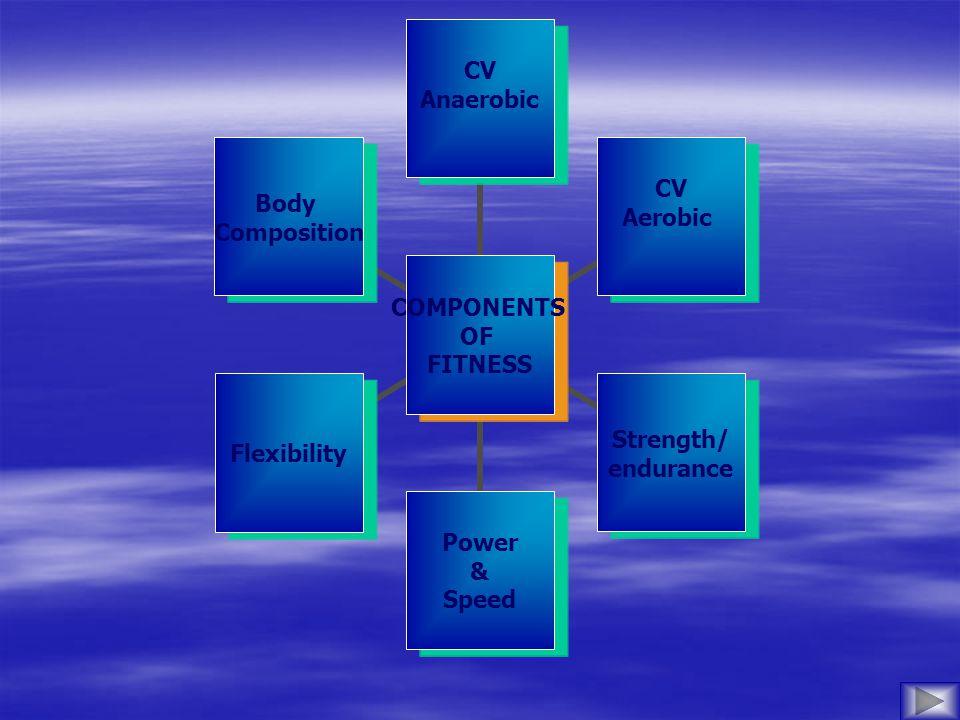 COMPONENTS OF FITNESS CV Anaerobic CV Aerobic Strength/ endurance Power & Speed Flexibility Body Composition
