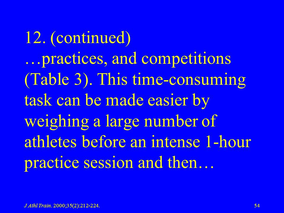 J Athl Train. 2000;35(2):212-224.54 12. (continued) …practices, and competitions (Table 3). This time-consuming task can be made easier by weighing a