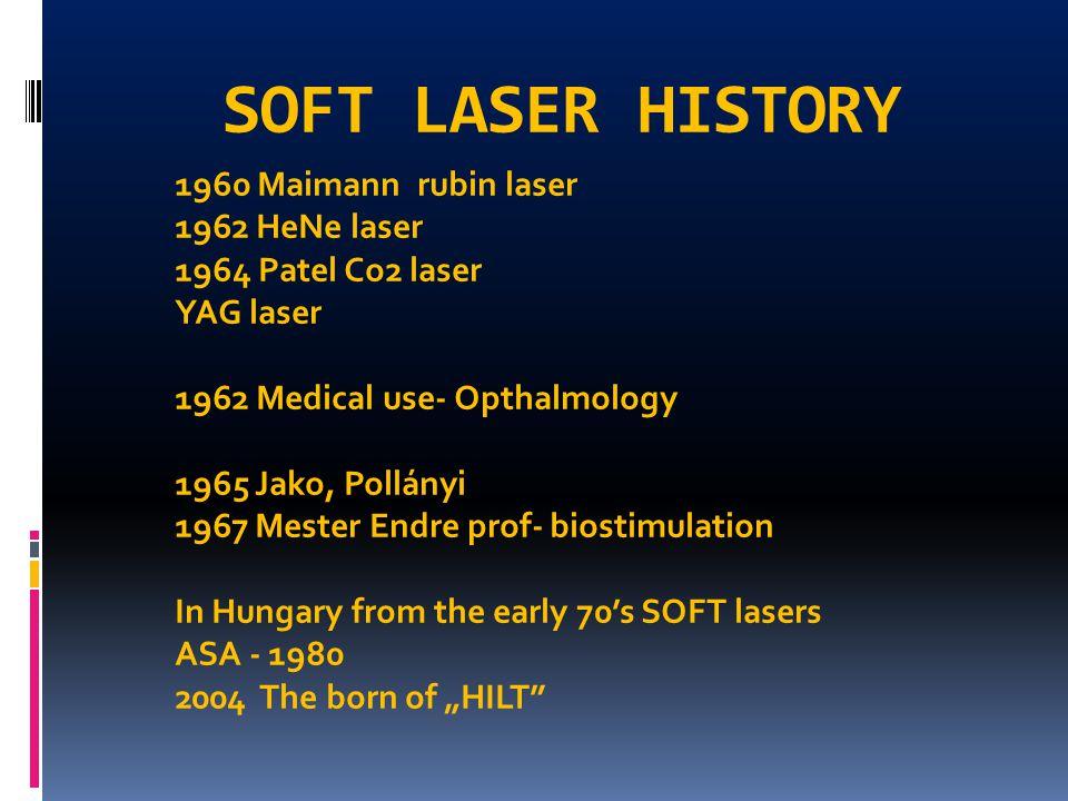 SOFT LASER HISTORY 1960 Maimann rubin laser 1962 HeNe laser 1964 Patel Co2 laser YAG laser 1962 Medical use- Opthalmology 1965 Jako, Pollányi 1967 Mes