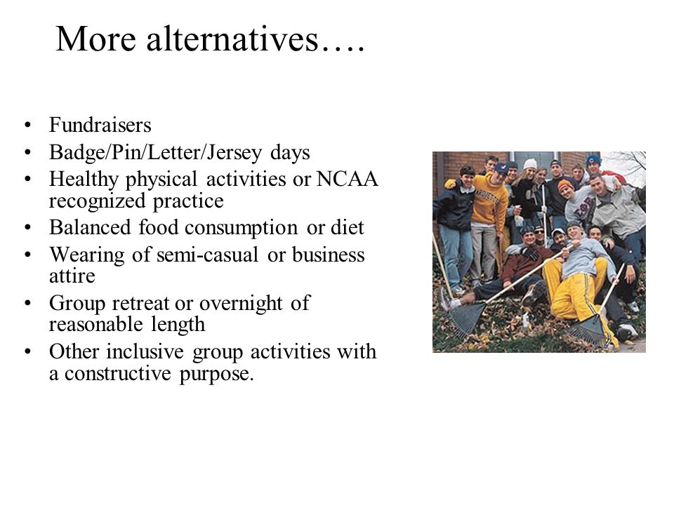More alternatives…. Fundraisers Badge/Pin/Letter/Jersey days Healthy physical activities or NCAA recognized practice Balanced food consumption or diet