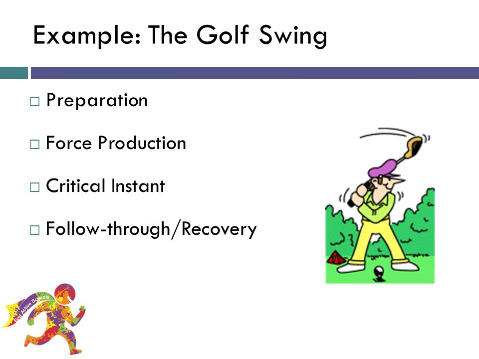Example: The Golf Swing Preparation Force Production Critical Instant Follow-through/Recovery Ever Active Schools: A Taste of FMS