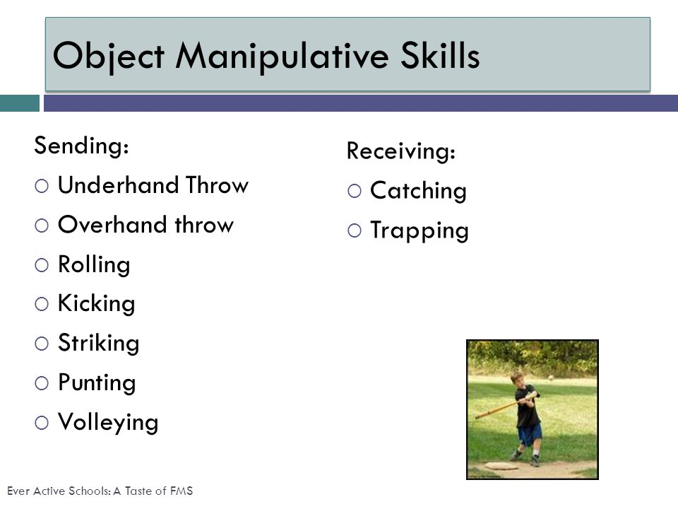 Object Manipulative Skills Sending: Underhand Throw Overhand throw Rolling Kicking Striking Punting Volleying Receiving: Catching Trapping Ever Active Schools: A Taste of FMS