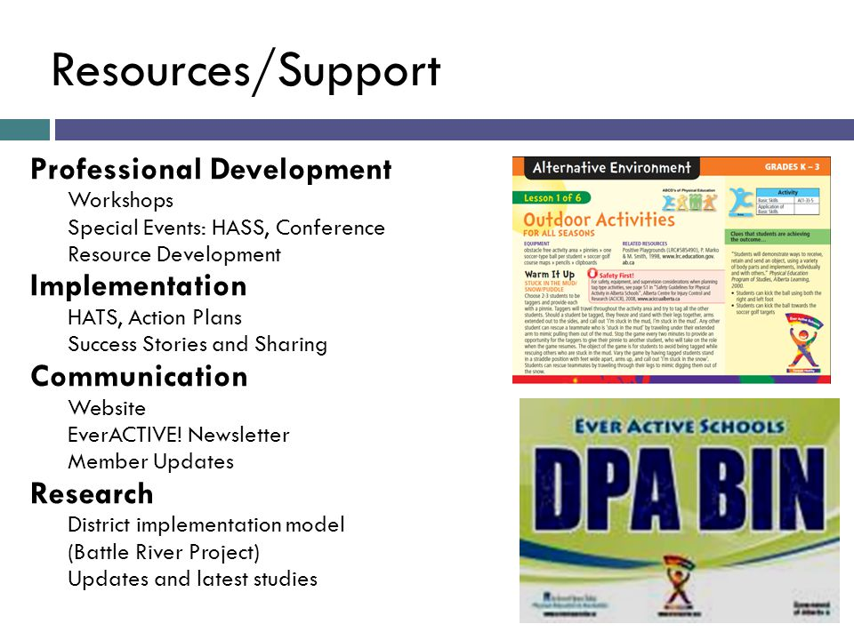 Resources/Support Professional Development Workshops Special Events: HASS, Conference Resource Development Implementation HATS, Action Plans Success Stories and Sharing Communication Website EverACTIVE.