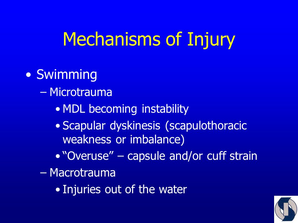 Mechanisms of Injury Swimming –Microtrauma MDL becoming instability Scapular dyskinesis (scapulothoracic weakness or imbalance) Overuse – capsule and/or cuff strain –Macrotrauma Injuries out of the water
