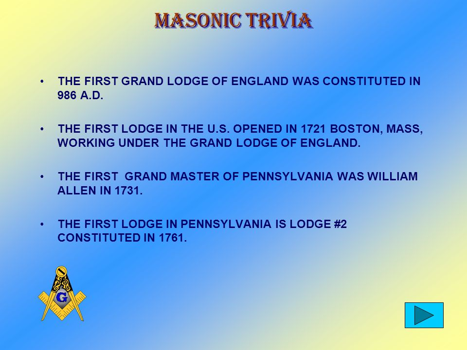Masonic Trivia CONSTRUCTION OF THE GRAND LODGE OF PENNSYLVANIA AT 1 NORTH BROAD STREET, WAS COMPLETED ON SEPT.