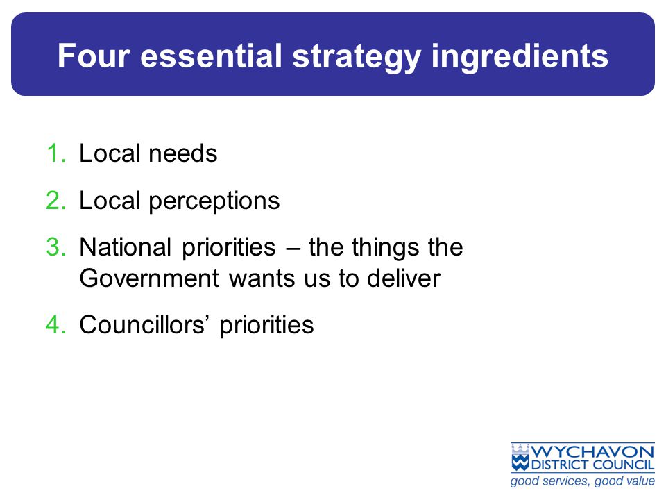 Four essential strategy ingredients 1.Local needs 2.Local perceptions 3.National priorities – the things the Government wants us to deliver 4.Councill