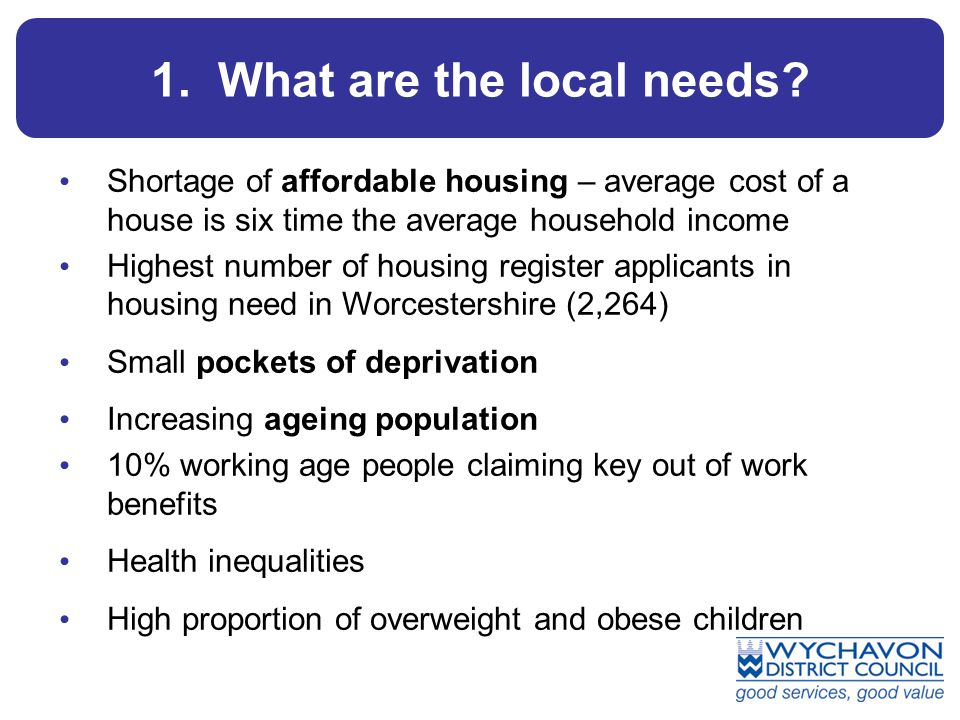 1. What are the local needs? Shortage of affordable housing – average cost of a house is six time the average household income Highest number of housi