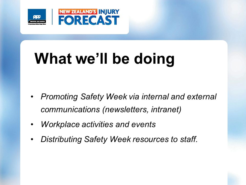 What well be doing Promoting Safety Week via internal and external communications (newsletters, intranet) Workplace activities and events Distributing