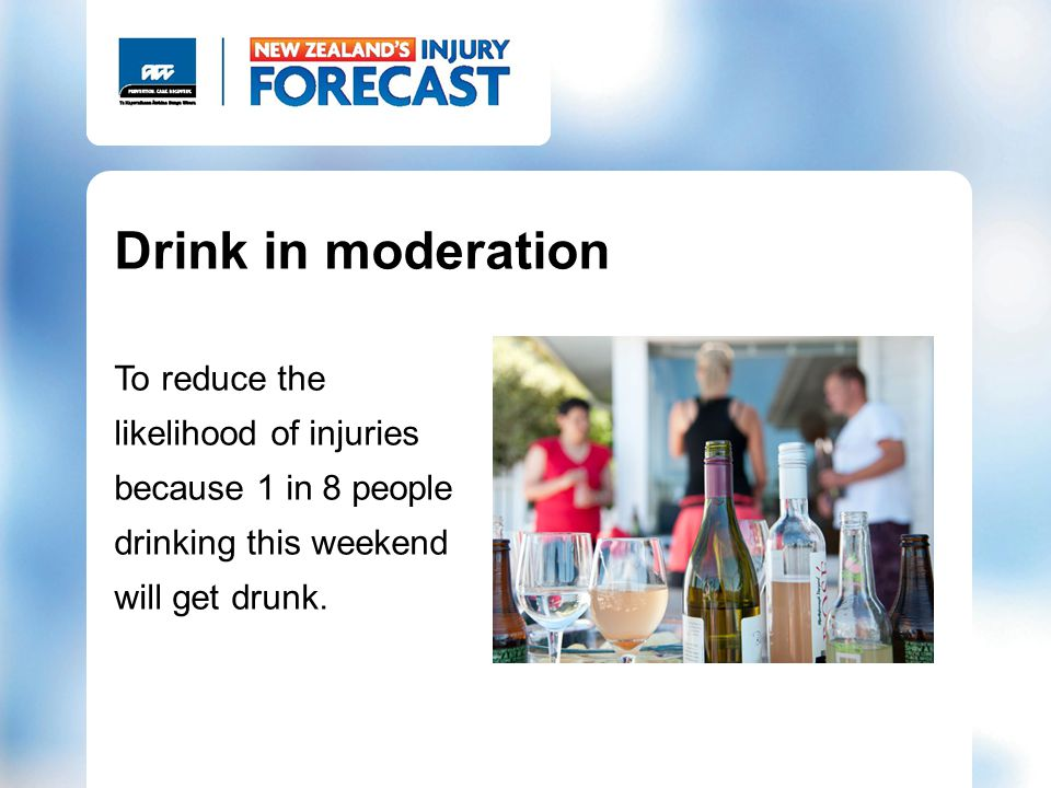 Drink in moderation To reduce the likelihood of injuries because 1 in 8 people drinking this weekend will get drunk.