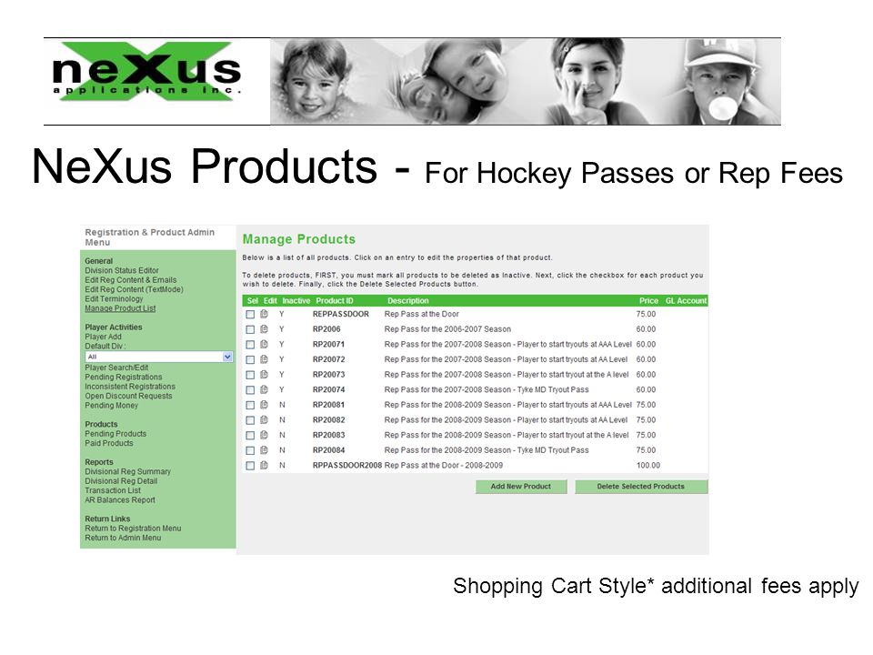NeXus Products - For Hockey Passes or Rep Fees Shopping Cart Style* additional fees apply