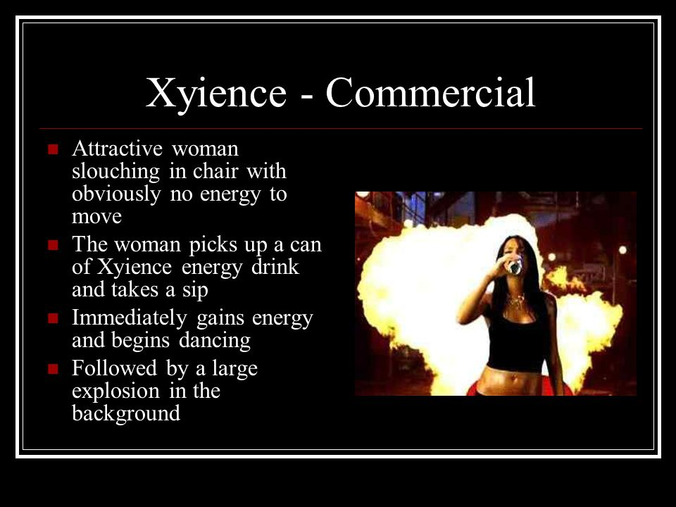 Xyience - Commercial Attractive woman slouching in chair with obviously no energy to move The woman picks up a can of Xyience energy drink and takes a