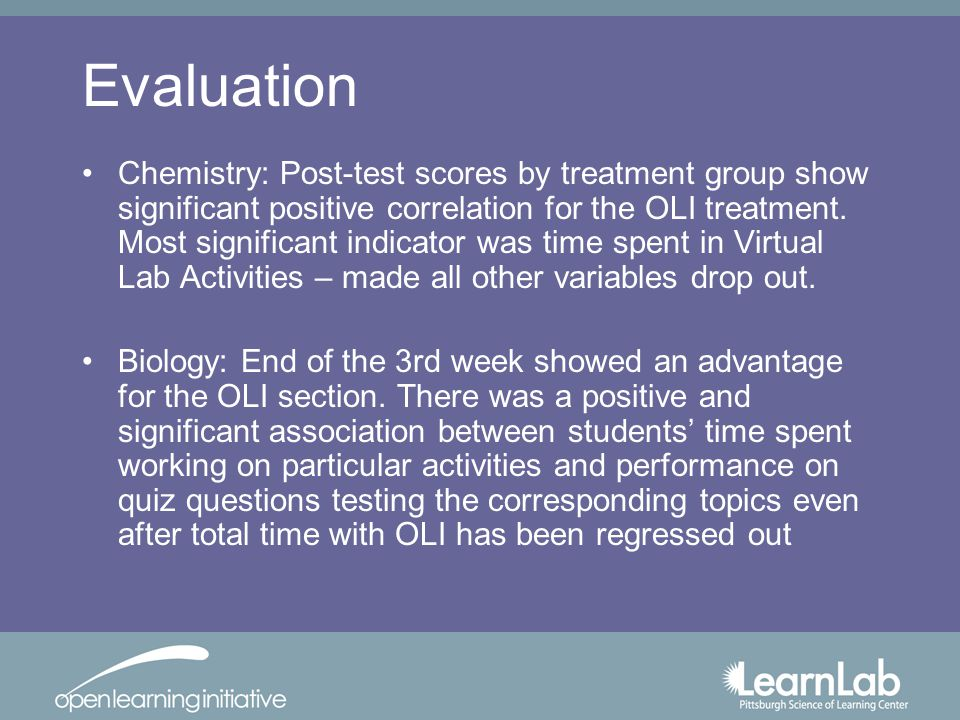 Evaluation Chemistry: Post-test scores by treatment group show significant positive correlation for the OLI treatment.