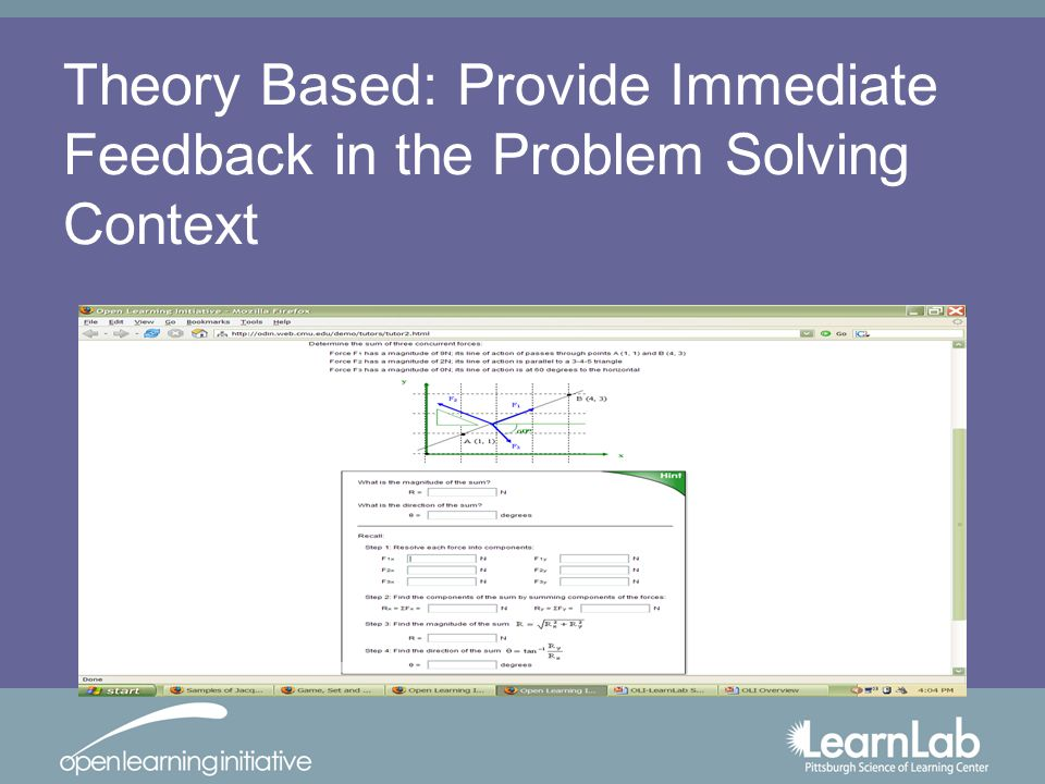 Theory Based: Provide Immediate Feedback in the Problem Solving Context