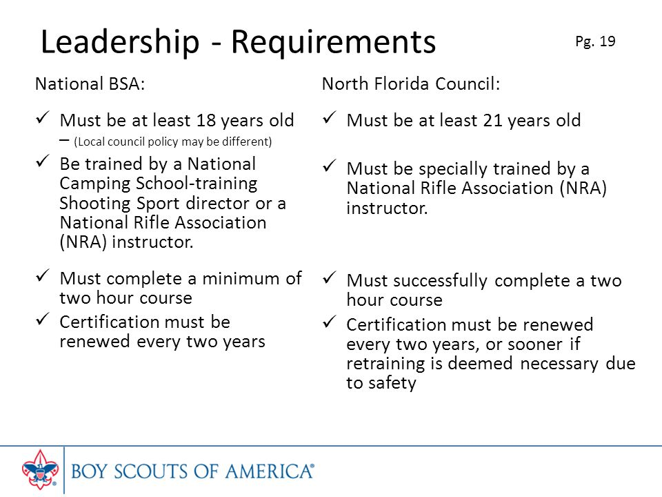 Leadership - Requirements National BSA: Must be at least 18 years old – (Local council policy may be different) Be trained by a National Camping School-training Shooting Sport director or a National Rifle Association (NRA) instructor.