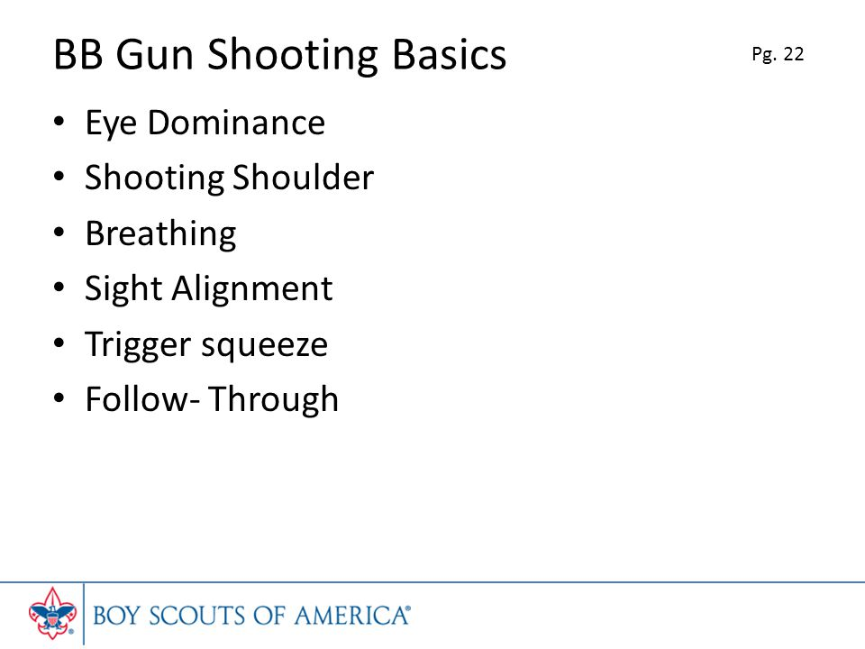 BB Gun Shooting Basics Eye Dominance Shooting Shoulder Breathing Sight Alignment Trigger squeeze Follow- Through Pg.